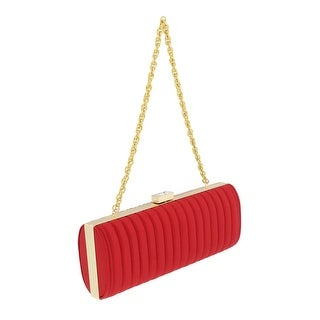 Scheilan Red Fabric Stiched Stripe Clutch - 9-3-2