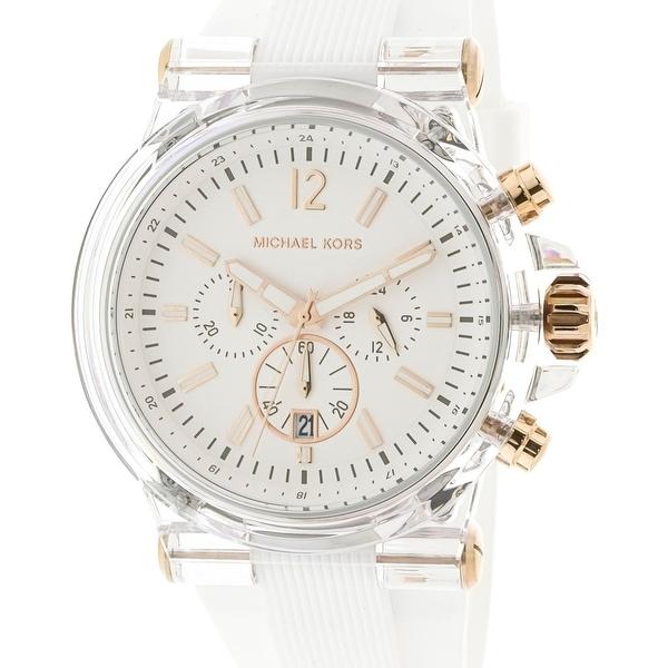 33e0102e42b7 Shop Michael Kors Dylan White Silicone Japanese Quartz Fashion Watch - Free  Shipping Today - Overstock - 18619012