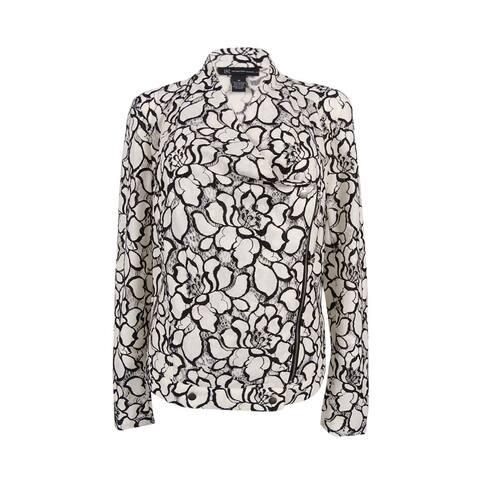 INC International Concepts Women's Crocheted Moto Jacket (M, White/Black) - WHITE/BLACK - m
