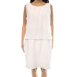 MSK NEW White Womens Size 14 Chiffon Sleeveless Blouson Banded Dress