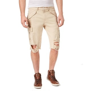 best value los angeles world-wide renown Guess Mens Solid Sand Washed Destroyed Cargo Shorts | Overstock.com  Shopping - The Best Deals on Shorts