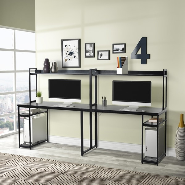 Two Person Computer Desk with Storage. Opens flyout.