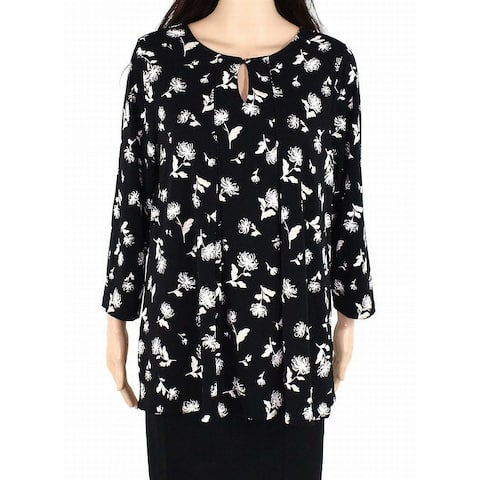 Charter Club Womens Blouse Black Size 1X Plus Floral Print Keyhole
