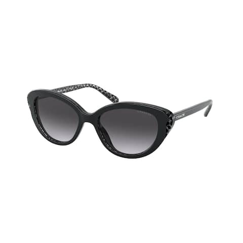 Coach HC8288 55828G 52 Black Glitter Signature C Woman Cat Eye Sunglasses