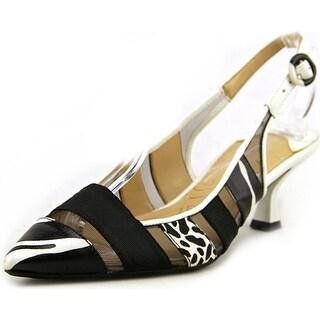 J. Renee Gavrel Women Pointed Toe Canvas White Slingback Heel