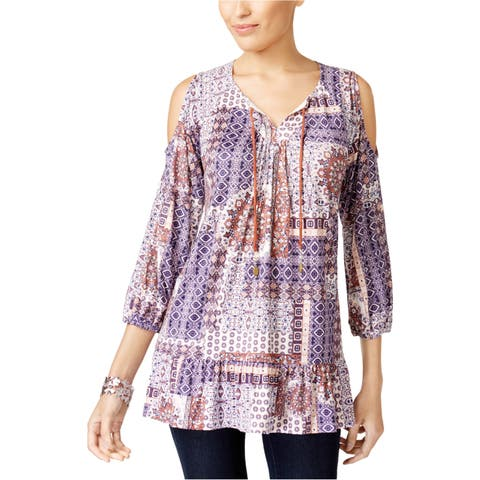 Style&Co. Womens Multi Printed Peasant Blouse