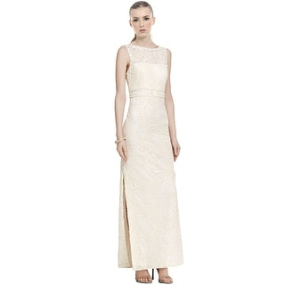 Sue Wong Draped Back Embellished Lace Column Evening Gown Dress