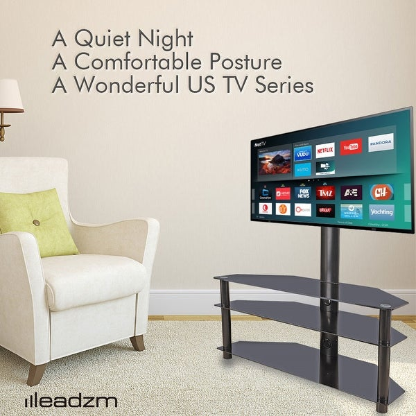 "3-Tier 32-65"" Corner Floor TV Stand with Swivel Bracket Tempered Glass Shelves. Opens flyout."