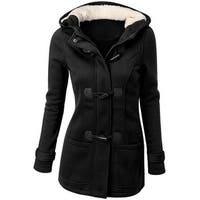 QZUnique Women's Fashion Double Breasted Thicken Warm Hoodie Coat Jacket