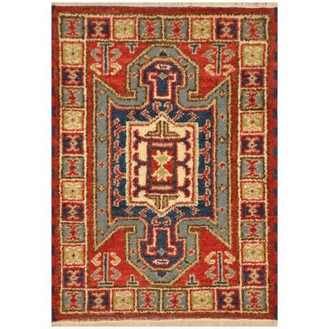 Handmade One-Of-A-Kind Tribal Kazak Wool Rug (India) - 2'x4'