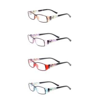 b839512461 Womens Stain Glass Reading Glasses - 4 Pair Pack - purple   brown   red