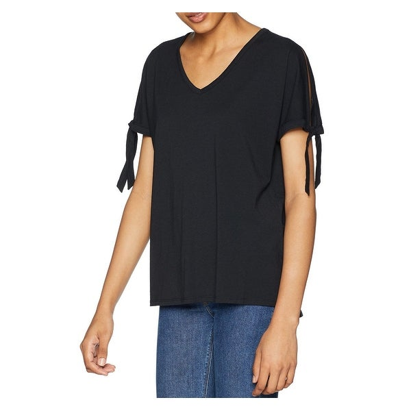 194fcf0524dd65 Shop NYDJ Black Women's Size Medium M V-Neck Tie Sleeve Knit Top - Free  Shipping On Orders Over $45 - Overstock - 28304924