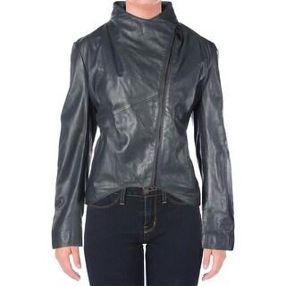Elie Tahari Womens Beverly Leather Asymmetric Motorcycle Jacket
