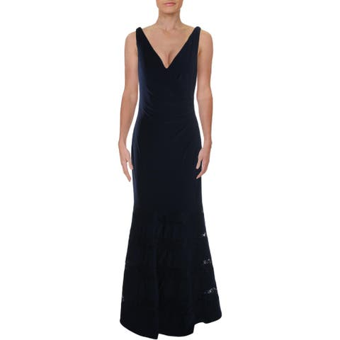 Lauren Ralph Lauren Womens Cleveland Formal Dress Lace Sleeveless - Navy