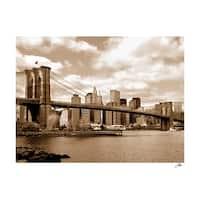 ''Brooklyn Bridge (sepia)'' by Igor Maloratsky Photography Art Print (13 x 19 in.)