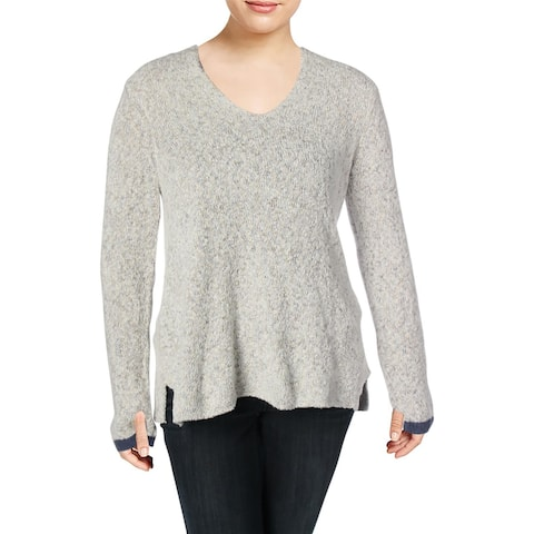 Nic + Zoe Womens Montreal V-Neck Sweater Marled Knit