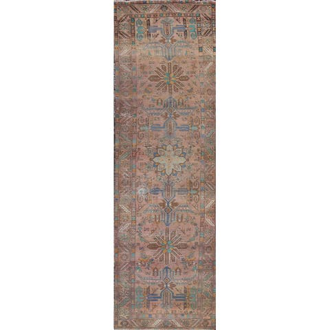 """Distressed Tabriz Persian Hallway Runner Rug Wool Hand-knotted Carpet - 3'7"""" x 13'7"""""""