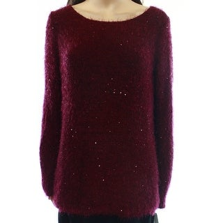 NY Collection NEW Purple Women's Medium M Sequined Boat Neck Sweater