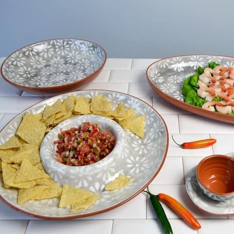 "Euro Ceramica Margarida Grey/White Terra Cotta 14"" Chip and Dip Platter"