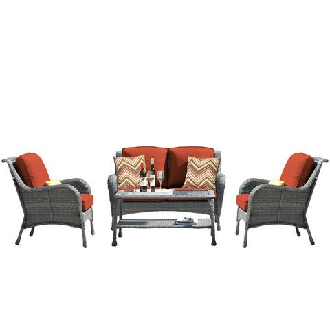 4 Pcs Outdoor Patio Sofa Seating Group with Cushions
