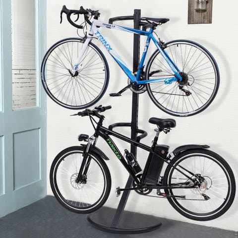 Costway Freestanding Gravity Bike Stand Two Bicycles Rack For Storage or Display - Black