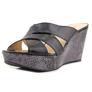 Nine West Ernist Women Open Toe Leather Black Wedge Heel