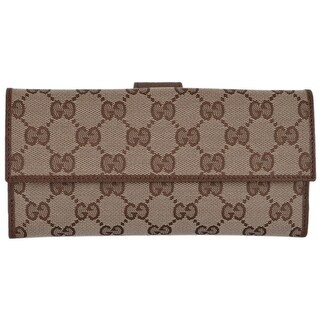 "Gucci Women's 231841 Beige Canvas GG Guccissima Continental Wallet W/Coin - 7.75"" x 4"""