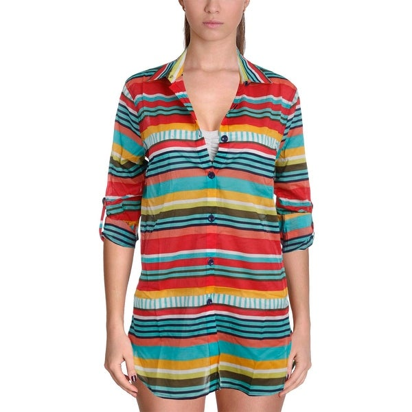 98170bb580299 Shop Anne Cole Signature Womens Tropication Woven Striped Swim Top Cover-Up  - Free Shipping On Orders Over  45 - Overstock - 20489071