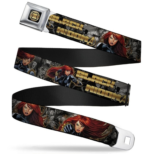 Marvel Avengers Black Widow Hourglass Logo Full Color Black Gold Black Seatbelt Belt