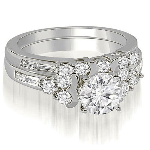 1.75 cttw. 14K White Gold Round And Baguette Cut Cluster Diamond Bridal Set