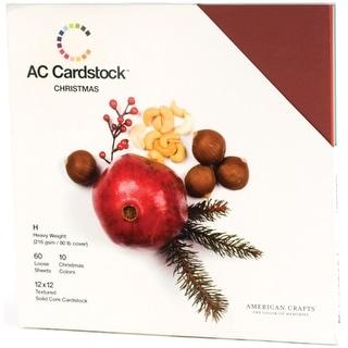 "American Crafts Textured Cardstock Pack 12""X12"" 60/Pkg-Christmas Seasonal"