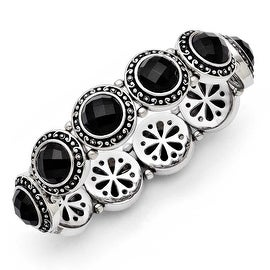 Chisel Stainless Steel Black Onyx Antiqued Stretch Bracelet