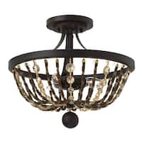 Fredrick Ramond FR42861 3 Light Semi-Flush Ceiling Fixture from the Hamlet Collection