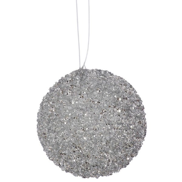 "4ct Silver Sleigh Ride Sequin and Glitter Drenched Christmas Ball Ornaments 4"" (100mm)"