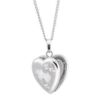 Classic Small Double Etched Heart Locket Pendant in Sterling Silver - White