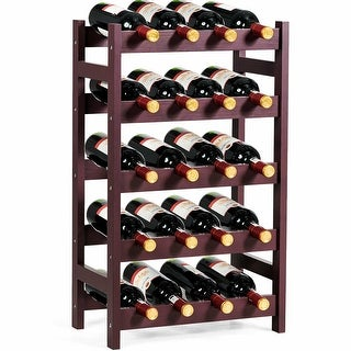 Gymax 20 Bottle Wood Wine Rack 5-Tier Bottle Display Storage Shelf Free Standing - as pic