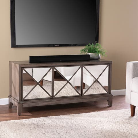 Silver Orchid Warbington Glam Brown Wood Media Cabinet