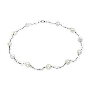 Bling Jewelry Freshwater Cultured Pearl 14K White Gold Tin Cup Necklace 18 Inches