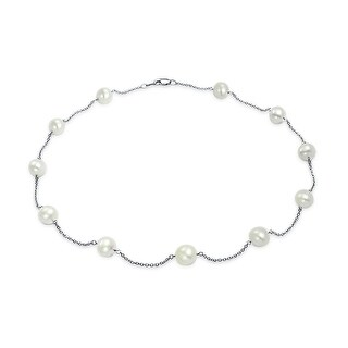 Bling Jewelry Freshwater Cultured Pearl 14K White Gold Tin Cup Necklace