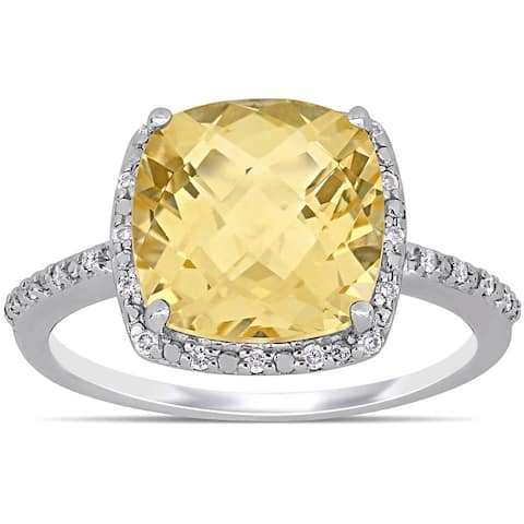 Miadora Sterling Silver Cushion-Checkerboard-Cut Citrine and 1/10ct TDW Diamond Cocktail Ring