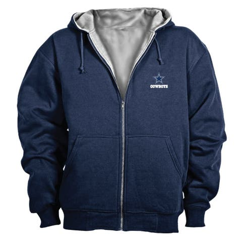 NFL Mens Sweater Navy Blue Size Small S Cowboys Thermal Lined Hoodie