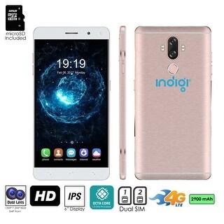 Indigi Unlocked 4G LTE 6in Android 7.0 SmartPhone (13MP CAM + Fingerprint Scan + 2SIM Slots) (Rose Gold) + 32gb microSD