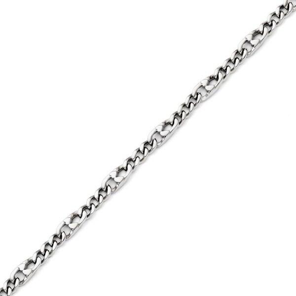 Chisel Stainless Steel Polished 4mm Figaro Bracelet