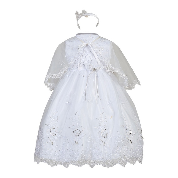 Little Girls White Organza Overlay Cape Floral Dress Christening Set 2-6