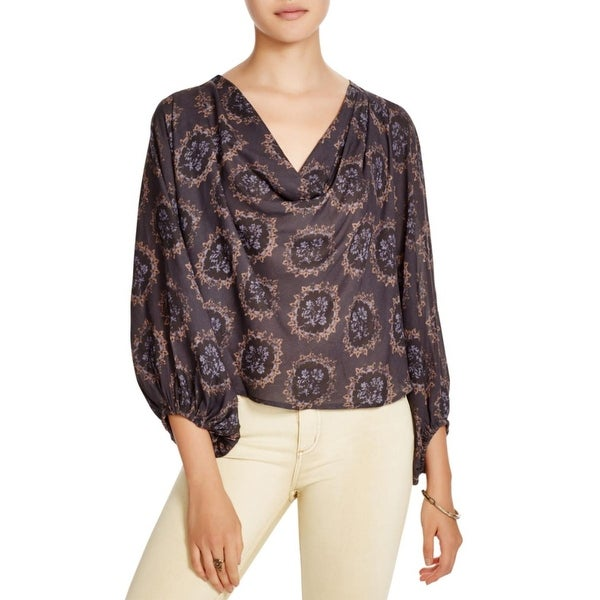 Free People Womens Blouse Hi-Low Printed