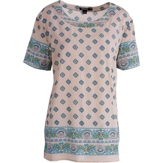 DKNY Womens Silk Printed Pullover Top