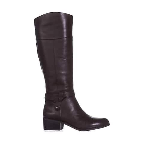 Alfani Womens Berniee Leather Round Toe Knee High Fashion Boots