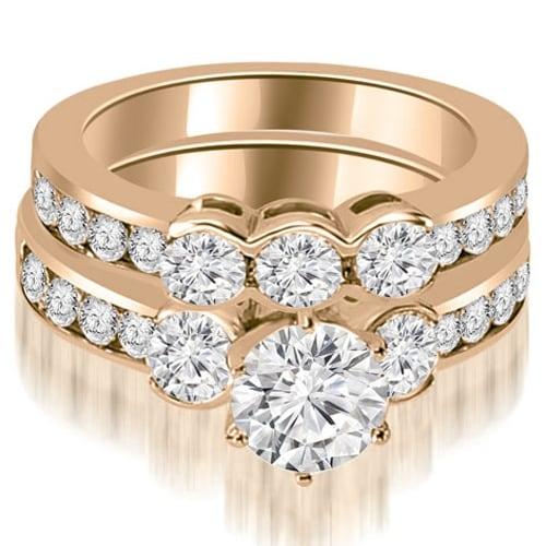 3.00 cttw. 14K Rose Gold Bezel Set Round Cut Diamond Engagement Set - White H-I