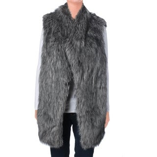 Pure DKNY Womens Faux Fur Mixed Media Vest