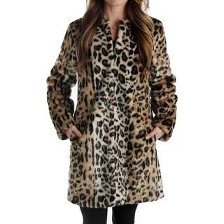 T Tahari Womens Jenna Coat Faux Fur Animal Print